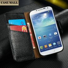 S4 Case,Genuine S4Case,For Samsung galaxy S4 i9500 wallet flip business card real leather case