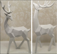 White resin deer figurine origami indoor deer statues