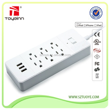 3 USB Ports Surge Protector Power Strip with Current Control