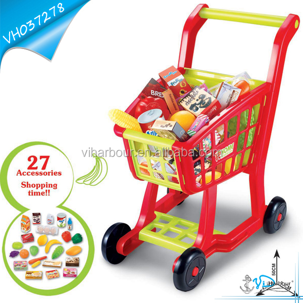 Supermarket Kids Shopping toy cart With 27 Accessories
