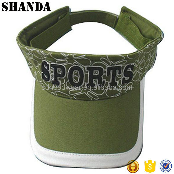 fashion design wide brim custom 3D embroidery sun visor hat