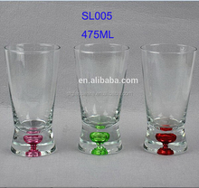 475ml 16OZ Drinking Water Beverage Glass with Base Color Bubble