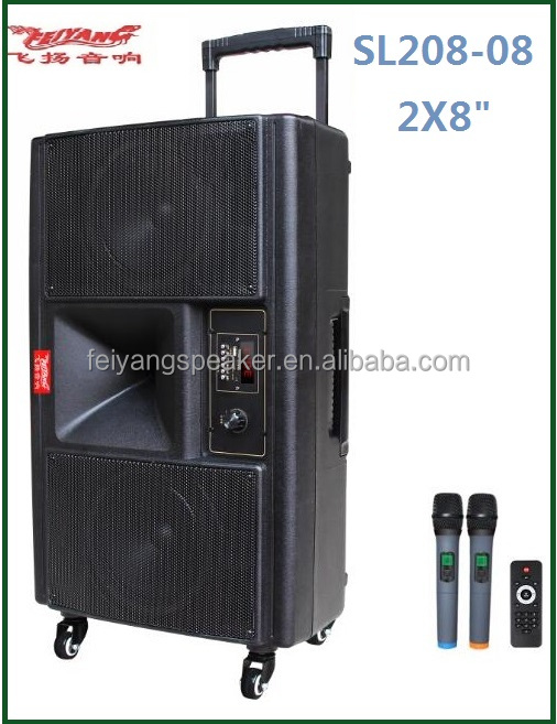 TEMEISHENG DOUBLE SUB WOOFER 8 INCH BLUETOOTH TROLLEY SPEAKER PROFESSIONAL STAGE SPEAKER WITH TROLLEY