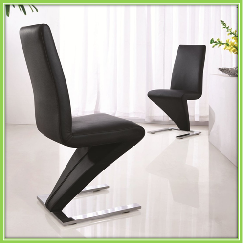 Black PU Leather Chrome Steel Z Shape Dining Chair Styles