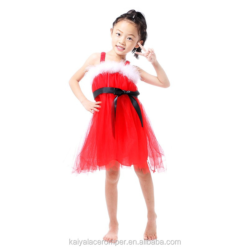 Toddlers Girl Red Feather Dress Baby Fancy Party Frock Wholesale