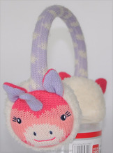 kids girls children cute knitted pattern faux fur plush unicorn winter ear warmer earmuffs