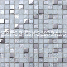 Silver Cool Color Square Iridescent Rainbow Plating Broken Glass Mosaic Tiles For Livingroom Kitchen Bathroom Decoration HD03