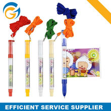 Cartoon Printed Ballpen Transparent Barrel with Color String