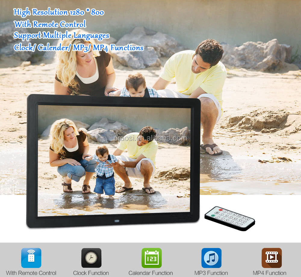 Chinese Sex Video Square Voice Recording LCD Bluetooth Gif 15'' Digital Photo Frame