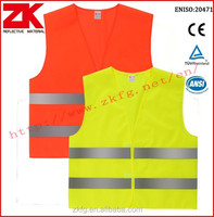 manufacturer high visibility 100%polyester safety vest with 2 horizontal tapes