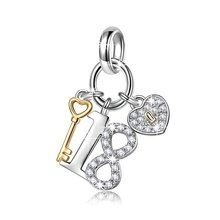 18 Years Old Birthday Gift No.18 Heart Key Pendant Dangle lucky charm