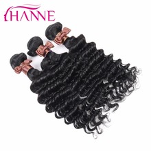 Hanne Hair 8A Malaysian Deep Wave Remy Hair Extensions Aliexpress Human Hair Weave Bundle 10''~26'' inch Natural Black