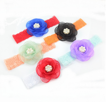 Large Flower With Lace Baby Hair Band Headband Dress Up HeadBand A064