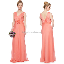 new arrivals 2014 maxi latest gown design pleated chiffon evening dress