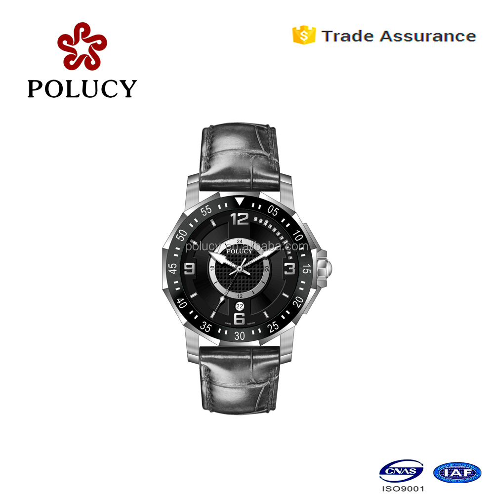 shenzhen factory polucy stainless steel 10atm water resistant quartz watch for men with genuine leather strap
