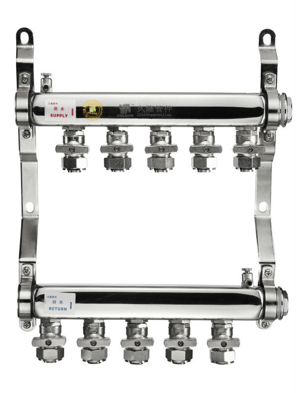 Stainless Steel floor heating manifold with Double Ball Valves for stainless steel water manifold