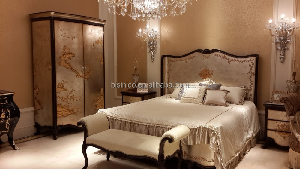 Vintage lacquer wooden Bed, Antique Reproduction Bedroom Furniture Set,  Elegant Gold Painting Palace Lacquer - Vintage Lacquer Wooden Bed, Antique Reproduction Bedroom Furniture