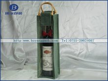 bamboo handle burlap wine bag with pvc window