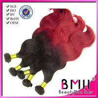 Best selling dark/red color top 5a body wave virgin brazilian human hair extension