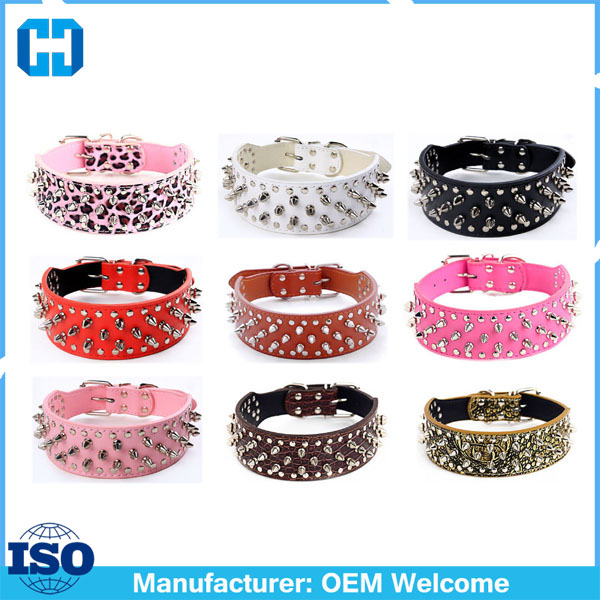Designer Colorful Pet Collar Spiked Leather Dog Collars Made In China