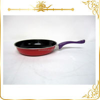 Non stick carbon steel fry pan with color handle