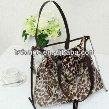 Transparent Leopard Print Drawstring Beach Bag