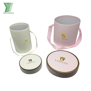 luxury white cardboard cylinder flower boxes with gold foil logo rose round boxes gift