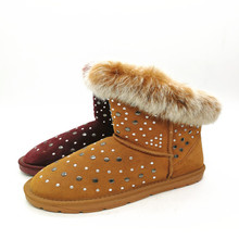 Women Winter Warm Thicken Fluffy Suede Wool Fur Flat Snow Boots