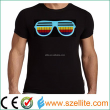 2017 year fasionable party dancing sound reactive led tshirt