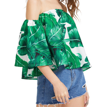 Horizontal Neck Loose Print Blouse