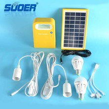 Suoer Rechargeable 3W LED Home Lighting Solar Power System 6V Portable Solar System