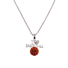 wholesale sports themed Jewelry rhinestone I love basketball neckalce