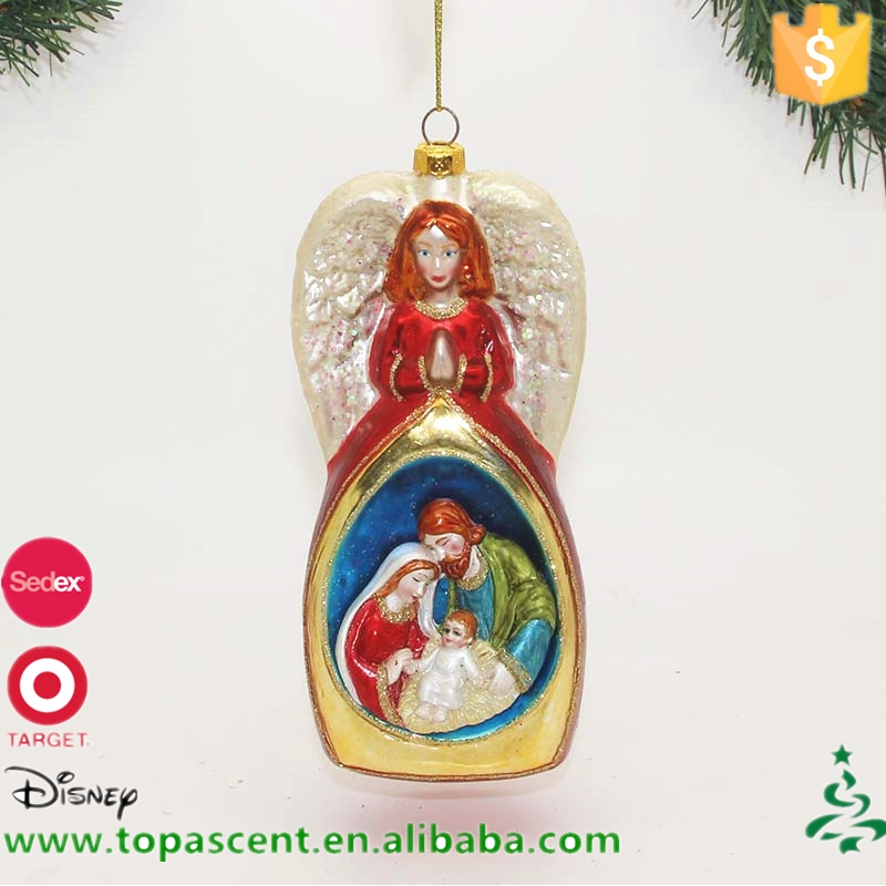 China christmas supplies glass angel with the Holy Family for christmas decoration
