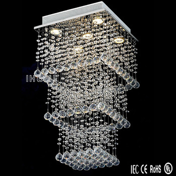 Hot Selling Indoor 3Layers Rectangular Contemporary LED Ceiling Chandelier, Crystal Ceiling Lighting