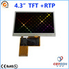 4.3 inch TFT LCD module 480x272 resolution sunlight readable LCD module with RTP resistive touch panel S043WQ07H-T