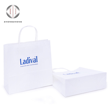 Eco friendly printed kraft paper white custom smart shopping paper bag with flat handle