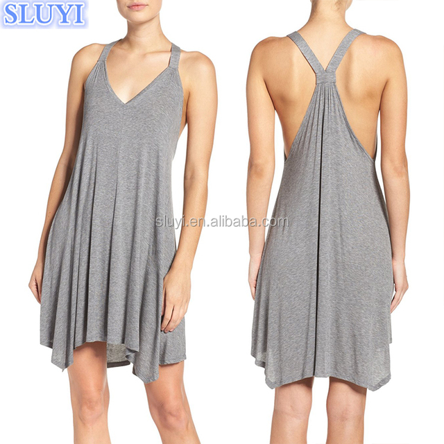 wholesale summer hot nightgown nightwear gray tunic dress sleeveless v neck modal racerback jersey sexy girls nightdress