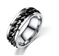 2017 Men's Ring Never Fade Jewelry Stainl Steel The Punk Rock Accessories Stainless Titanium Steel Chain Spinner Rotation Rings