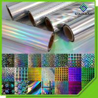 50 micron holographic film for self adhesive, seamless rainbow holographic metalized film