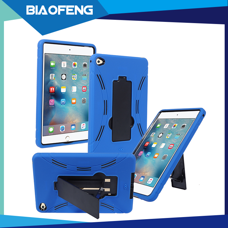 Shockproof Flip Cover Case For Tablet, Heavy Duty Rubber Child Proof Tablet Case Cover For iPad Mini 4 With Hard Stand