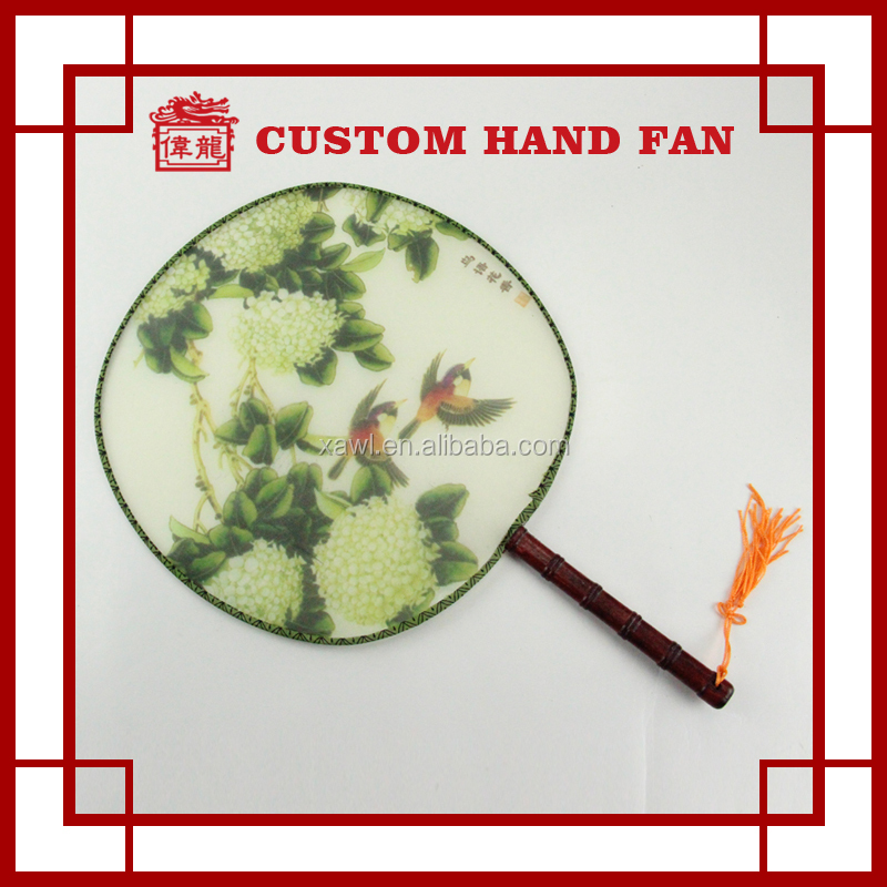 Exquisite Chinese Round Nylon Folding Hand Fan for Promotional TS102-3
