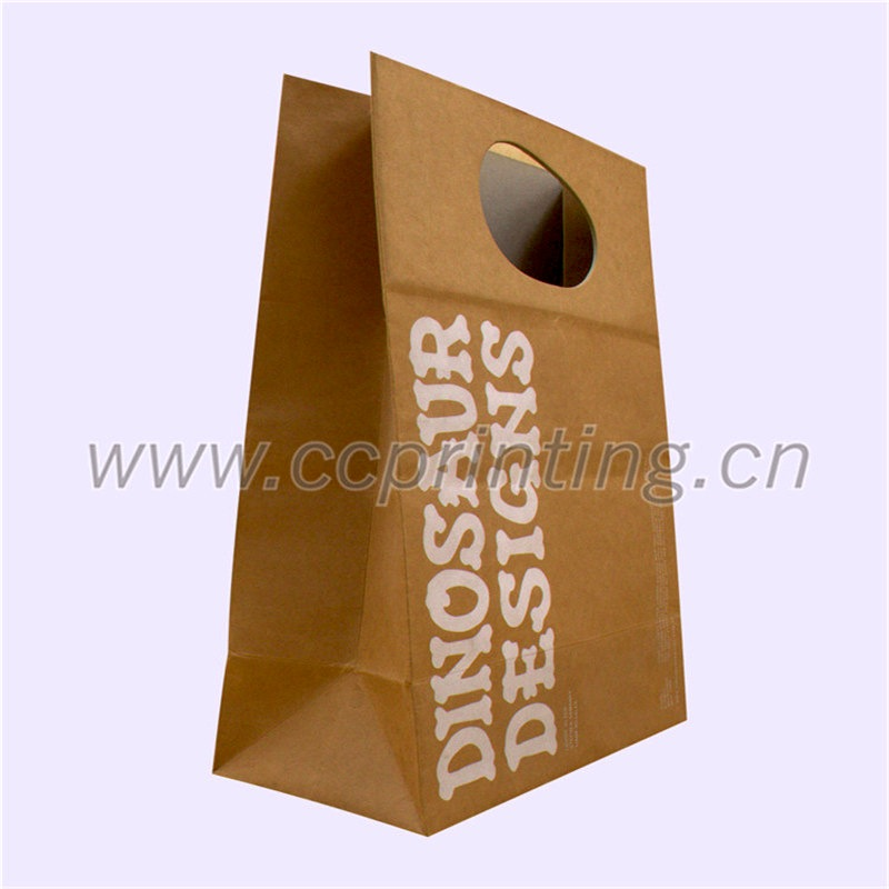 Food Package Brown Kraft Paper Bag With Paper Handle