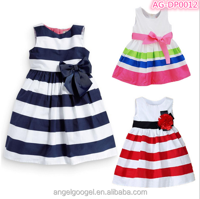 kids clothes wholesale one piece children clothes latest teenage stripe kids girl party dress AG-DP0012