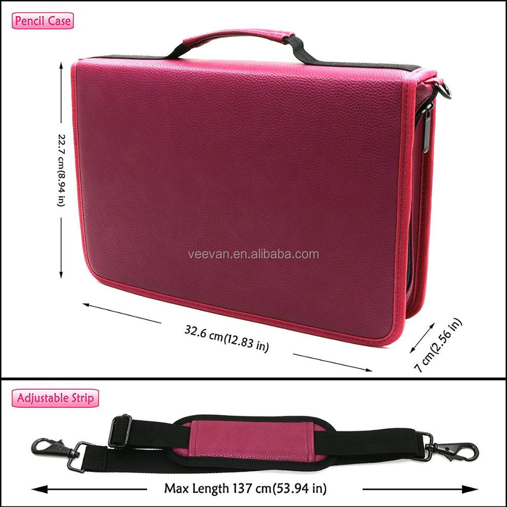 160 slots Marker Pen Case Oxford Organizer with Carrying Handle Slot Carrying, Marker Holder leather shoulder bag