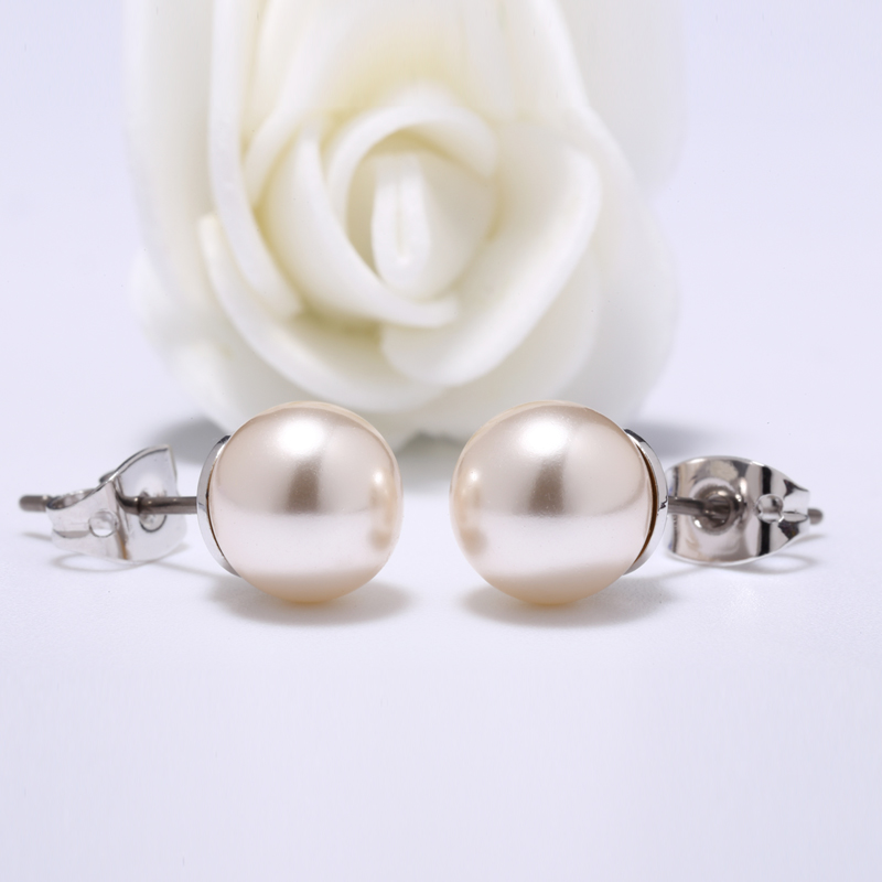Simple Pink Pearl Jewelry Ear Stud Cute And Fashion Earrings
