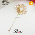 Guangzhou manufacturer metal pearl lapel pin for the men's suits
