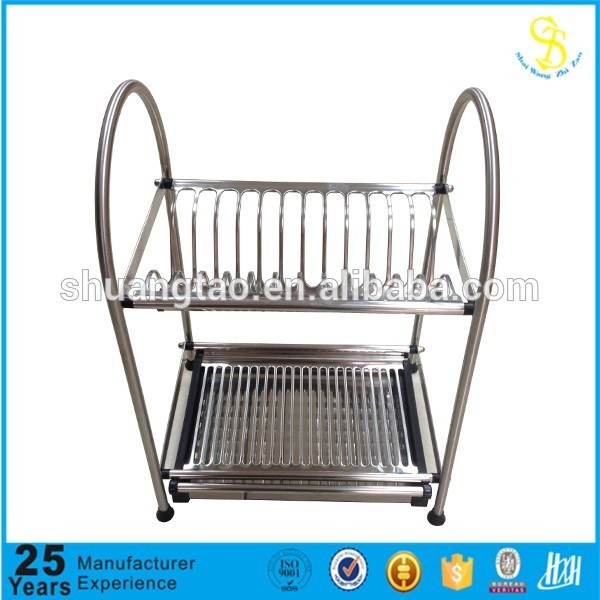 2 tiers kitchen hanging stainless steel wall mounted dish drying rack ,Drainer Plate Bowl Storage Organizer Holder for Cabinet