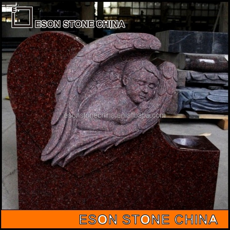 eson stone 91 India red polished baby statues of angels for cemeteries,the tombstone angels