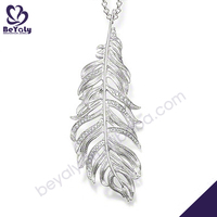 Simple silver feather design car charms