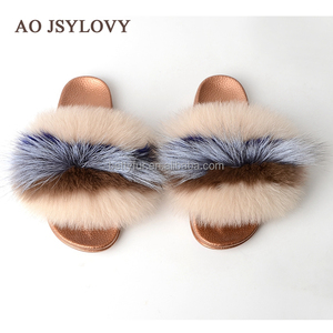 Quality Slides Platform Color Fox Fur Fashion Women Real Fur Slippers